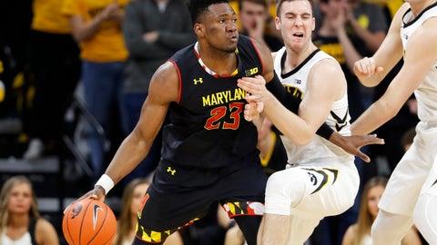<p>               Maryland forward Bruno Fernando (23) drives past Iowa guard Connor McCaffery during the second half of an NCAA college basketball game Tuesday, Feb. 19, 2019, in Iowa City, Iowa. Maryland won 66-65. (AP Photo/Charlie Neibergall)             </p>