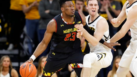 <p>               Maryland forward Bruno Fernando (23) drives past Iowa guard Connor McCaffery during the second half of an NCAA college basketball game Tuesday, Feb. 19, 2019, in Iowa City, Iowa. Maryland won 66-65. (AP Photo/Charlie Neibergall)             </p>