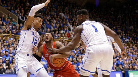 <p>               Duke's Javin DeLaurier (12) and Zion Williamson (1) defend against St. John's Shamorie Ponds during the first half of an NCAA college basketball game in Durham, N.C., Saturday, Feb. 2, 2019. (AP Photo/Gerry Broome)             </p>