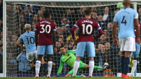 <p>               Manchester City's Sergio Aguero, left, shoots to score from the penalty spot during the English Premier League soccer match between Manchester City and West Ham United at Etihad stadium in Manchester, England, Wednesday, Feb. 27, 2019. (AP Photo/Dave Thompson)             </p>