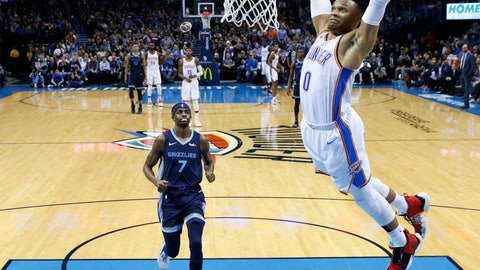 <p>               Oklahoma City Thunder guard Russell Westbrook (0) shoots in front of Memphis Grizzlies forward Justin Holiday (7) during the first half of an NBA basketball game in Oklahoma City, Thursday, Feb. 7, 2019. (AP Photo/Sue Ogrocki)             </p>
