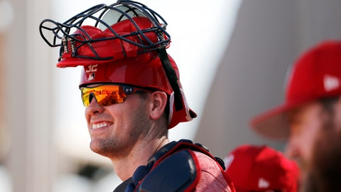 <p>               FILE - In this Feb. 17, 2018, file photo, Washington Nationals catcher Matt Wieters watches during spring training baseball practice in West Palm Beach, Fla. Wieters has agreed to a minor league contract with the St. Louis Cardinals. If added to the 40-man roster, the 32-year-old would get a one-year contract calling for a $1.5 million salary while in the major leagues. Wieters spent the past two seasons with Washington. (AP Photo/Jeff Roberson, File)             </p>