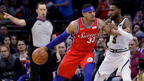 <p>               Philadelphia 76ers' Tobias Harris (33) drives to the basket against Denver Nuggets' Will Barton (5) during the first half of an NBA basketball game Friday, Feb. 8, 2019, in Philadelphia. (AP Photo/Matt Slocum)             </p>