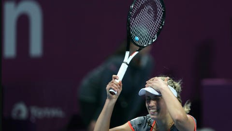 <p>               Belgium's Elise Mertens reacts after defeating Romania's Simona Halep in a final match of the the Qatar Open tennis tournament in Doha, Qatar, Saturday, Feb. 16, 2019. (AP Photo/Kamran Jebreili)             </p>