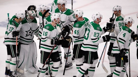 <p>               The Dallas Stars celebrate after defeating the Chicago Blackhawks during an NHL hockey game Sunday, Feb. 24, 2019, in Chicago. (AP Photo/Jeff Haynes)             </p>