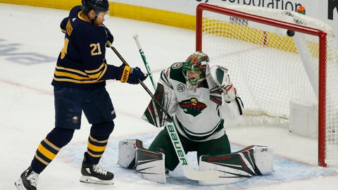 <p>               Buffalo Sabres forward Kyle Okposo (21) watches the puck go past Minnesota Wild goalie Devan Dubnyk (40) during the first period of an NHL hockey game, Tuesday, Feb. 5, 2019, in Buffalo N.Y. (AP Photo/Jeffrey T. Barnes)             </p>