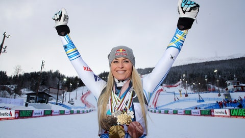 <p>               United States' Lindsey Vonn poses with her career's medals in the finish area after the women's downhill race, at the alpine ski World Championships in Are, Sweden, Sunday, Feb. 10, 2019. (AP Photo/Marco Trovati)             </p>