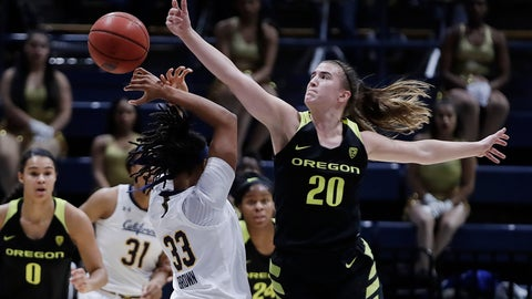 <p>               Oregon's Sabrina Ionescu (20) steals the ball from California's Jaelyn Brown (33) during the first half of an NCAA college basketball game Friday, Feb. 8, 2019, in Berkeley, Calif. (AP Photo/Ben Margot)             </p>