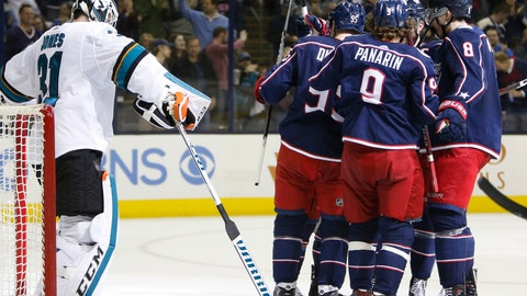 <p>               Columbus Blue Jackets players celebrate their goal against San Jose Sharks' Martin Jones during the second period of an NHL hockey game Saturday, Feb. 23, 2019, in Columbus, Ohio. (AP Photo/Jay LaPrete)             </p>