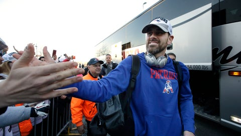 <p>               New England Patriots kicker Stephen Gostkowski, right, greets fans following the football teams arrival at Gillette Stadium, Monday, Feb. 4, 2019, in Foxborough, Mass., after defeating the Los Angeles Rams Sunday in NFL Super Bowl 53, in Atlanta, Ga. (AP Photo/Steven Senne)             </p>