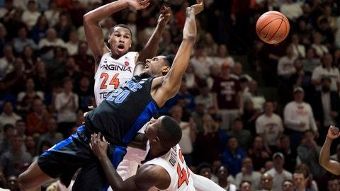 <p>               Duke center Marques Bolden (20) is fouled as Virginia Tech's Kerry Blackshear Jr. (24) and Ty Outlaw (42) defend during the first half of an NCAA college basketball game in Blacksburg, Va., Tuesday, Feb. 26, 2019. (AP Photo/Lee Luther Jr.)             </p>