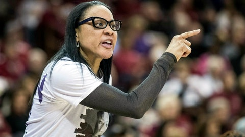 <p>               FILE - In this Jan. 21, 2019, file photo, South Carolina head coach Dawn Staley communicates with an official during an NCAA college basketball game in Columbia, S.C. South Carolina started the season struggling at 4-4 in it first season without All-American A'ja Wilson. Since the 12th-ranked Gamecocks have won 13 of their last 14 games as they prepare to play at No. 5 UConn on Monday, Feb. 11, 2019. (AP Photo/Sean Rayford, File)             </p>