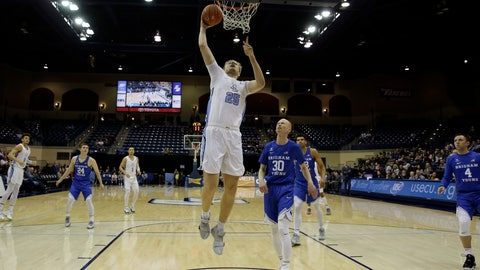 <p>               San Diego forward Yauhen Massalski, center, shoots over Brigham Young guard TJ Haws during the first half of an NCAA college basketball game Thursday, Feb. 14, 2019, in San Diego. (AP Photo/Gregory Bull)             </p>