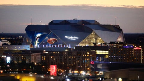 <p>               The sun sets behind Mercedes-Benz Stadium ahead of Sunday's NFL Super Bowl 53 football game between the Los Angeles Rams and New England Patriots in Atlanta, Friday, Feb. 1, 2019. (AP Photo/David Goldman)             </p>
