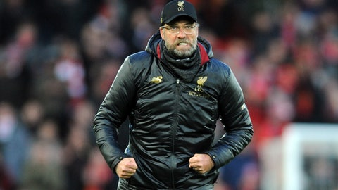 <p>               Liverpool manager Juergen Klopp greets supporters at the end of the English Premier League soccer match between Liverpool and AFC Bournemouth at Anfield stadium in Liverpool, England, Saturday, Feb. 9, 2019. (AP Photo/Rui Vieira)             </p>