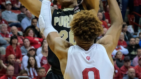 <p>               Purdue guard Nojel Eastern, rear, shoots over Indiana guard Romeo Langford during the first half of an NCAA college basketball game in Bloomington, Ind., Tuesday, Feb. 19, 2019. (AP Photo/AJ Mast)             </p>