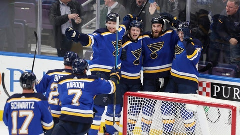 <p>               St. Louis Blues' Ryan O'Reilly (90) celebrates with teammates after scoring in overtime against the Toronto Maple Leafs during an NHL hockey game Tuesday, Feb. 19, 2019, in St. Louis. The Blues won 3-2 (AP Photo/Tom Gannam)             </p>