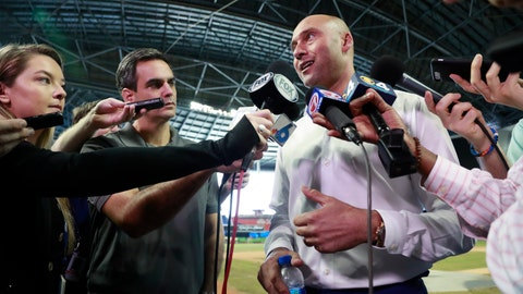 <p>               Miami Marlins baseball team CEO Derek Jeter, right, speaks to members of the media inside Marlins Park stadium, Monday, Feb. 11, 2019, in Miami. Jeter is entering his second season as CEO of the Marlins, who remain in the throes of a rebuilding project. (AP Photo/Wilfredo Lee)             </p>