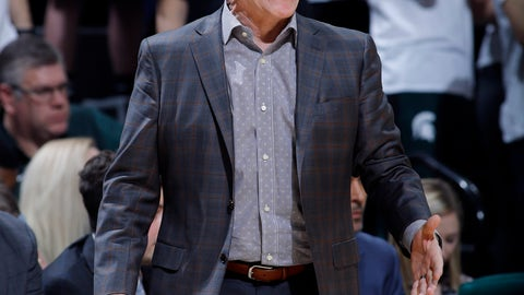 <p>               Michigan State coach Tom Izzo yells instructions against Indiana during the second half of an NCAA college basketball game, Saturday, Feb. 2, 2019, in East Lansing, Mich. Indiana won 79-75 in overtime. (AP Photo/Al Goldis)             </p>