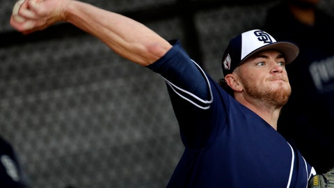 <p>               San Diego Padres pitcher Chris Paddack throws during spring training baseball practice Thursday, Feb. 14, 2019, in Peoria, Ariz. (AP Photo/Charlie Riedel)             </p>