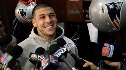 <p>               FILE - In this Jan. 26, 2012, file photo, New England Patriots tight end Aaron Hernandez speaks to reporters at his locker at the NFL football stadium in Foxborough, Mass. A federal judge says the 6-year-old daughter of deceased NFL player Aaron Hernandez missed a 2014 deadline to opt out of the $1 billion concussion settlement and can't separately sue the league over his CTE diagnosis. Yet Hernandez's death in 2017 came too late for his family to seek compensation for CTE-related suicides under the class action settlement. 
