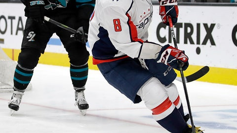<p>               Washington Capitals' Alex Ovechkin (8) moves the puck past San Jose Sharks' Joe Thornton, left, during the second period of an NHL hockey game Thursday, Feb. 14, 2019, in San Jose, Calif. (AP Photo/Ben Margot)             </p>