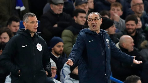 <p>               Chelsea head coach Maurizio Sarri gestures when looking at the fourth official during the English FA Cup fifth round soccer match between Chelsea and Manchester United at Stamford Bridge stadium in London, Monday, Feb. 18, 2019. (AP Photo/Alastair Grant)             </p>