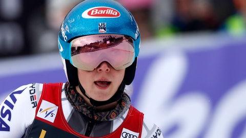 <p>               United States' Mikaela Shiffrin checks her time at the finish area of an alpine ski, women's World Cup giant slalom, in Maribor, Slovenia, Friday, Feb. 1, 2019. (AP Photo/Gabriele Facciotti)             </p>