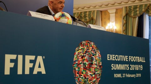 <p>               FIFA President Gianni Infantino meets the journalists during a press conference at the end of an executive committee meeting in Rome, Wednesday, Feb. 27, 2019. (AP Photo/Gregorio Borgia)             </p>