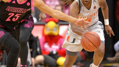 <p>               Louisville guard Asia Durr (25) attempts to strip the ball from Miami guard Mykea Gray (5) during the first half of an NCAA college basketball game in Louisville, Ky., Sunday, Feb. 17, 2019. (AP Photo/Timothy D. Easley)             </p>