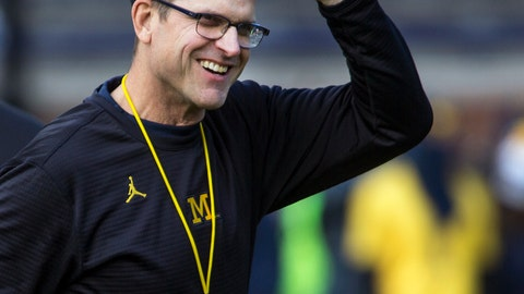 <p>               FILE - In this Nov. 25, 2017, file photo, Michigan head coach Jim Harbaugh adjusts his cap on the field during warmups before an NCAA college football game against Ohio State in Ann Arbor, Mich. Michigan finished the football recruiting cycle with the top-ranked class in the Big Ten for the first time since 2007, and four other conference programs were ranked in the top 25. (AP Photo/Tony Ding, File)             </p>