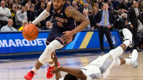 <p>               St. John's guard Shamorie Ponds, left, drives past Marquette forward Sacar Anim during the second half of an NCAA college basketball game Tuesday, Feb. 5, 2019, in Milwaukee. (AP Photo/Darren Hauck)             </p>