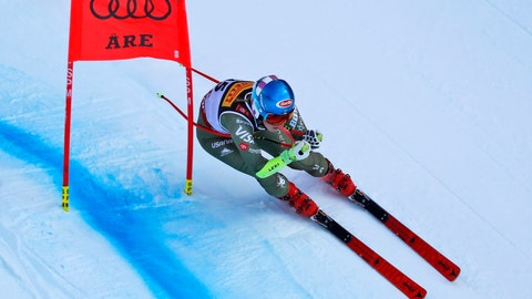 <p>               United States' Mikaela Shiffrin competes on her way to win the women's super G at the alpine ski World Championships, in Are, Sweden, Tuesday, Feb. 5, 2019. (AP Photo/Gabriele Facciotti)             </p>