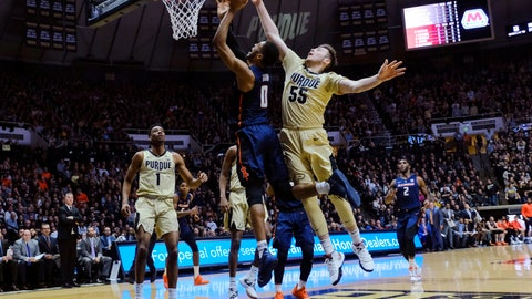 <p>               Purdue guard Sasha Stefanovic (55) fouls Illinois guard Alan Griffin (0) during the first half of an NCAA college basketball game in West Lafayette, Ind., Wednesday, Feb. 27, 2019. (AP Photo/AJ Mast)             </p>