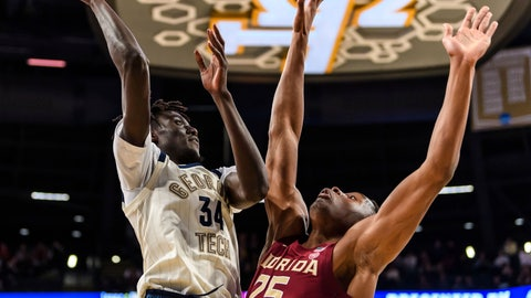 <p>               Georgia Tech forward Abdoulaye Gueye (34) attempts a shot over Florida State forward Mfiondu Kabengele (25) during the first half of an NCAA college basketball game Saturday, Feb. 16, 2019, in Atlanta. (AP Photo/Danny Karnik)             </p>