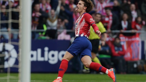 <p>               Atletico Madrid's Antoine Griezmann celebrates after scoring his sides 1st goal during a Spanish La Liga soccer match between Atletico Madrid and Real Madrid at the Metropolitano stadium in Madrid, Spain, Saturday, Feb. 9, 2019. (AP Photo/Manu Fernandez)             </p>