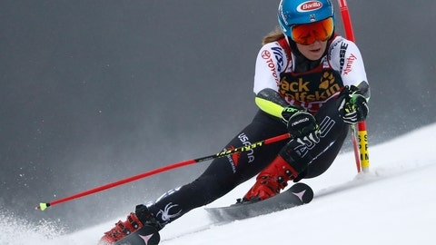 <p>               United States' Mikaela Shiffrin speeds down the course during an alpine ski, women's World Cup giant slalom, in Maribor, Slovenia, Friday, Feb. 1, 2019. (AP Photo/Gabriele Facciotti)             </p>