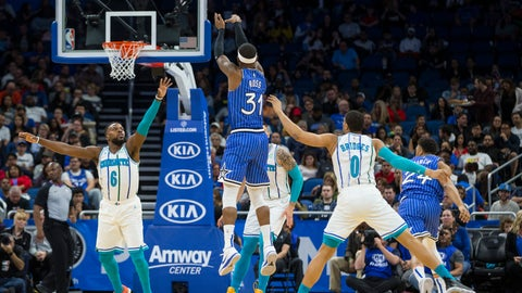 <p>               Orlando Magic guard Terrence Ross (31) scores against Charlotte Hornets guard Shelvin Mack (6) and forward Miles Bridges (0) during the first half of an NBA basketball game in Orlando, Fla., Thursday, Feb. 14, 2019. (AP Photo/Willie J. Allen Jr.)             </p>