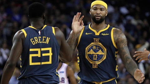 <p>               Golden State Warriors' DeMarcus Cousins, right, celebrates a score with Draymond Green (23) during the first half of an NBA basketball game against the Philadelphia 76ers on Thursday, Jan. 31, 2019, in Oakland, Calif. (AP Photo/Ben Margot)             </p>