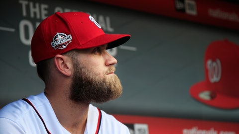 <p>               FILE - In this Sept. 26, 2018, file photo, Washington Nationals' Bryce Harper, looks at the baseball field from their dugout before the start of the Nationals last home game of the season against the Miami Marlins in Washington Spring training has started, yet two of baseball's biggest stars, Bryce Harper and Manny Machado, are sitting at home.  (AP Photo/Manuel Balce Ceneta, File)             </p>