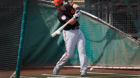 <p>               San Francisco Giants catcher Buster Posey hits during a spring training baseball practice, Friday, Feb. 15, 2019, in Scottsdale, Ariz. (AP Photo/Matt York)             </p>