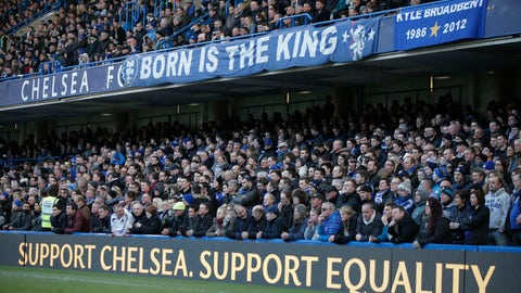 <p>               FILE  - In this Saturday, Feb. 21, 2015 file photo, Chelsea fans watch an English Premier League soccer match against Burnley at the Stamford Bridge ground in London. Gathered with his Chelsea's directors, Roman Abramovich stopped the football talk to raise deep concerns he wanted them to address at the club and beyond. (AP Photo/Lefteris Pitarakis, File)             </p>
