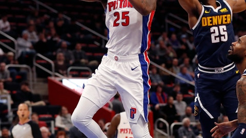 <p>               Detroit Pistons guard Reggie Bullock (25) makes a lamp in front of Denver Nuggets guard Malik Beasley (25) during the first half of an NBA basketball game, Monday, Feb. 4, 2019, in Detroit. (AP Photo/Carlos Osorio)             </p>