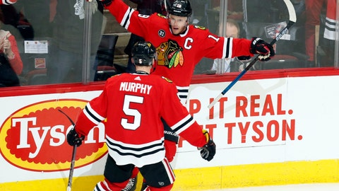 <p>               Chicago Blackhawks center Jonathan Toews celebrates his winning goal against the Vancouver Canucks with defenseman Connor Murphy (5) during the overtime period of an NHL hockey game Thursday, Feb. 7, 2019, in Chicago. (AP Photo Nuccio DiNuzzo)             </p>