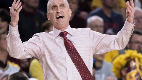 <p>               Arizona State head coach Bobby Hurley reacts as his team loses its lead to California during the first half of an NCAA college basketball game Sunday, Feb. 24, 2019, in Tempe, Ariz. (AP Photo/Darryl Webb)             </p>