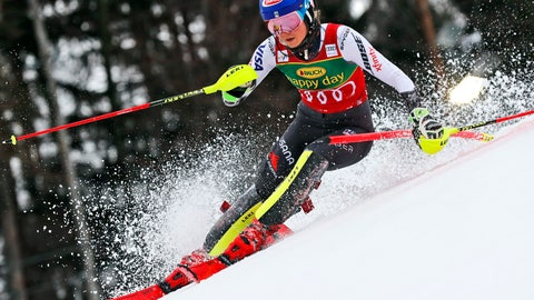 <p>               United States' Mikaela Shiffrin speeds down the course during an alpine ski, women's World Cup slalom, in Maribor, Slovenia, Saturday, Feb. 2, 2019. (AP Photo/Gabriele Facciotti)             </p>