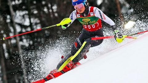 <p>               United States' Mikaela Shiffrin speeds down the course during an alpine ski, women's World Cup slalom, in Maribor, Slovenia, Saturday, Feb. 2, 2019. (AP Photo/Gabriele Facciotti)             </p>