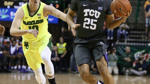<p>               TCU guard Alex Robinson, right, drives around Baylor guard Makai Mason, left, in the first half of an NCAA college basketball game, Saturday, Feb. 2, 2019, in Waco, Texas. (Rod Aydelotte/Waco Tribune Herald, via AP)             </p>