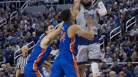 <p>               Nevada forward Cody Martin, right, shoots over the Boise State defense in the first half of an NCAA college basketball game in Reno, Nev., Saturday, Feb. 2, 2019. (AP Photo/Tom R. Smedes)             </p>