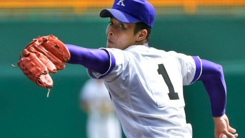 <p>               In this August, 2018, photo,  Kanaashi Nogyo High School pitcher Kosei Yoshida pitches during a game of the National High School Baseball Championship in Nishinomiya, Hyogo prefecture, western Japan. Amateur baseball officials in Japan are debating the introduction of pitch limits aimed at preventing injuries to high school players. (Kyodo News via AP)             </p>